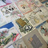 1942 Lot Vintage Bridal Wedding Greeting Cards Die Cut Tissue Honeycomb Amazing