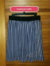 Focus 2000 Navy Blue White Striped skirt soft sheer 2 layer faux wrap sz 10P