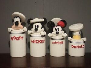 Rare New Disney Mickey Mouse and Friends Peek-A-Boo 4 Canister Set