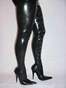 Latex 100% Promotion!! Stiefel schwarz rot 42-46 Fetisch Domina sexy Poland