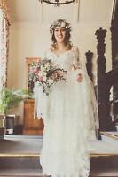 Boho Lace V Neck Cap Sleeves Wedding Dresses White Ivory Princess Bridal Gowns