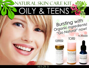 Natural Skin Care Kit For Teens and Oily Skin Set of 3