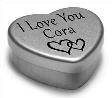 Je vous aime Cora mini coeur tin cadeau pour I Heart Cora avec des chocolats ou monnaies