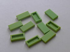 Lego 10 lisses citron/ limes tiles 1 x 2 / neuf / new / 7971 8709 8707 3315