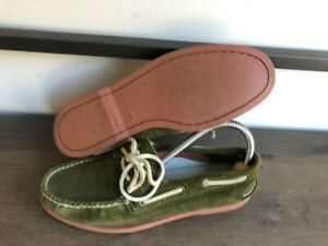 New Sperry Top Sider Men AO 2 Eye Boat Shoes Olive Green Suede sz 7.5M