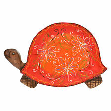 Joyful Turtle Hand Painted Orange Floral Carved Mango Wood Tray