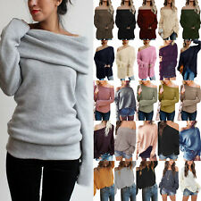 Womens Off Shoulder Chunky Knitted Jumper Oversized Baggy Sweater Knitwear S-5XL