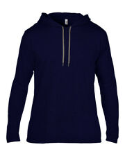 Anvil Men's Long Sleeve Casual Hooded T Shirt 2xl Navy/dark Grey