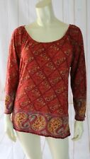 Lucky Brand Top L Red Paisley Cotton Pullover Knit Elastic Neck 3/4 Sleeves Boho