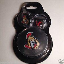 Ottawa Senators Team Logos fan pack with souvenir puck, pin & mini puck keychain