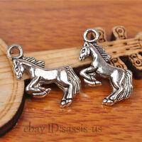 50pcs 20mm Charms Run Horse Pendant Tibet Silver DIY Jewelry Charm Bail A7237