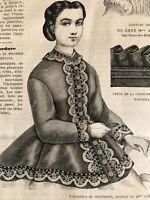 CIVIL WAR ERA  MODE ILLUSTREE SEWING PATTERN Feb 4,1866 PARDESSUS DE PRINTEMPS