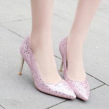 Women High Heel Glitter Bling Pointed Toe Slip on Wedding Pumps Shoes Size 33-47