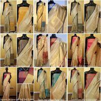 Designer Pakistani Chanderi saree with gold weaved Sari Wedding Ethnic Blouse IS