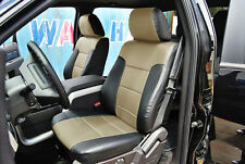 FORD F-150 2009-2013 BLACK/BEIGE IGGEE S.LEATHER CUSTOM FIT FRONT SEAT COVER