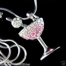 w Swarovski Austrian Crystal ~Pink Martini Glass~~ Juicy Cherry Pendant Necklace