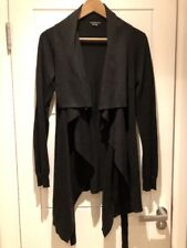 Theory Black Cotton Cashmere Cascading Cardigan Sweater Jumper Jacket S P Small