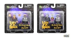 Lost in Space Minimates Lot Dr. Zachary Smith & Robot B-9 Color and B&W 2-Packs