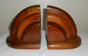 """Pair of Vintage two-tone Wood BOOKENDS - Art Deco Mid-Century Style - 5x5x5.25"""""""