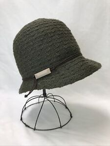 Vtg Womens Packable Hat Olive Green Cloche Bucket 20s 30s 40s Repro Small Medium