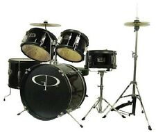 Gp GP Percussion Metallic Black, 5-Piece Junior Drum Set w/Cymbals & Throne NEW