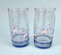 PAIR VINTAGE ANCHOR HOCKING TUMBLER GLASSES FLOWERS & STRIPES PINK BLUE WHITE