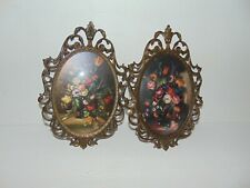 Pair Ornate Brass Framed Oval Floral Convex Bubble Glass Pictures Italy