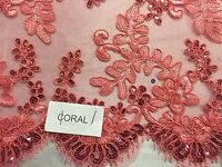 Lace Fabric Embroidered Corded Flowers With Sequins On A Mesh Coral By The Yard