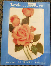 Vintage Meyercord Decals X540A Large Pink Roses