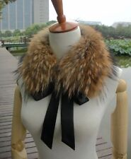 Women's Real Ussuri Raccoon Fur Collar Scarf Shawls​ Wrap Vest Scarves Gift