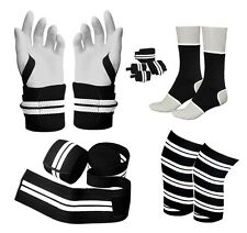 Prime Pro Weight Lifting Velcro Knee Wrap Support & Wrist Wrap+ Ankle Brace Pair
