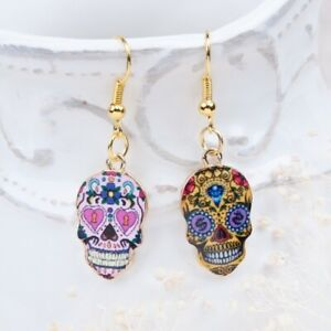 AU Seller Halloween Multi Colour Skull Day Of The Dead Pendant Earrings Gift