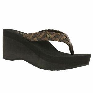 Women Cobian Zoe Wedge Flip Flop Sandal ZOE10-201 Chocolate 100% Authentic New