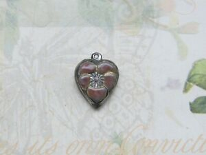 Vintage Sterling silver enameled puffy heart charm-PLUM pansy