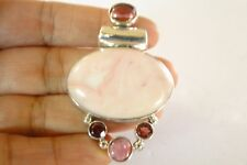 Pink Opal Opalite Red Garnet 925 Sterling Silver Slide Pendant