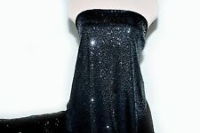 LYCRA SPANDEX BLACK  SEQUINS STRETCH BY THE YARD DANCE FORMAL COSTUME ICE SKATE