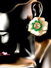 HOBE JULIO MARSELLA WHITE POURED MAYORKA PETALS FAUX JADE FLORAL CLIP EARRINGS