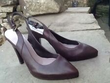 "DUNE - BRAND NEW - SLING BACK BROWN REAL LEATHER UPPERS 1/2""  PLATFORM - SIZE 4"