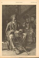 """Black History, """"Hoe Cake And Clabber"""", Family, Vintage 1888 Antique Art Print"""