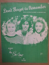 song sheet DON T FORGET TO REMEMBER BeeGees 1969