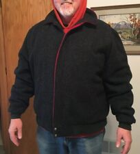 Vtg Woolrich Full Zip Black & Red Wool Blend Jacket Size XXL Long Plaid Lining