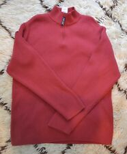 NWT Chaps Denim Men's 1/4 Zip Pullover Sweater Ribbed Sz XXL Dusty Red