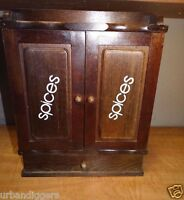 Vintage Mid Century Kitchen Hanging Wood Spice Rack Cabinet w  doors & drawer