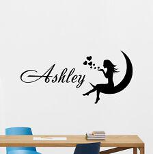 Personalized Girl Name Wall Decal Custom Vinyl Sticker Moon Fairy Decor 172hor
