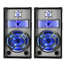 "2x Skytec 10"" Passive Blue LED PA Speakers Karaoke DJ Package 800 Watt UK Stock"