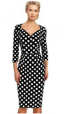 """WENDY"" GORGEOUS LADIES BLACK WHITE POLKA DOT SIZE 12 SWEETHEART FITTED DRESS"