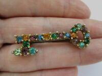 Vintage Signed Reg Multi Coloured Glass Silver Metal Vintage Door Key Brooch Pin