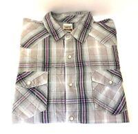 Levis Men's Long Sleeve Western Shirt Modern XL Plaid Pearl Snaps 100% Cotton