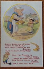 Greetings Pigs Early Postcard Posted Molly Brett Simple Simon met a Pieman going