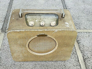 Vintage 1950s Sky Queen MW LW Portable Valve Radio Original Rare Not Tested